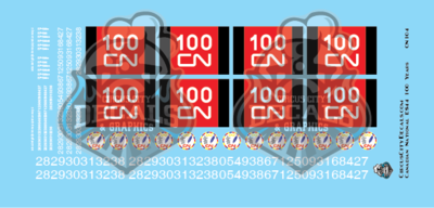 CN Canadian National ES44 100 Years N Scale Decal Set