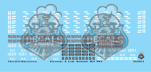 E&LS Escanaba & Lake Superior Reserve Mining SD9 SW S scale Decal Set