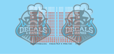 Ringling Bros. RBBB Circus Decals N Scale Flats & Stock Cars Ringling Brothers