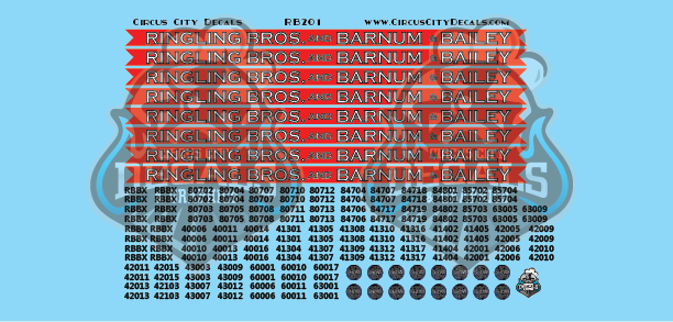 Ringling Brothers & Barnum Bailey Blue Unit RBBB Modern Circus Train Decals HO Scale