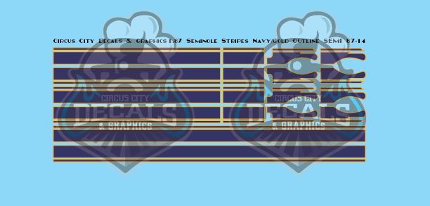 Seminole Stripe Navy/Gold Outline 1:87 Scale
