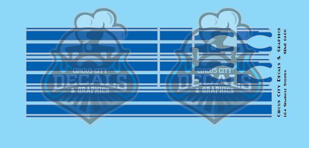 Seminole Stripe Blue/Silver Outline 1:87 Scale