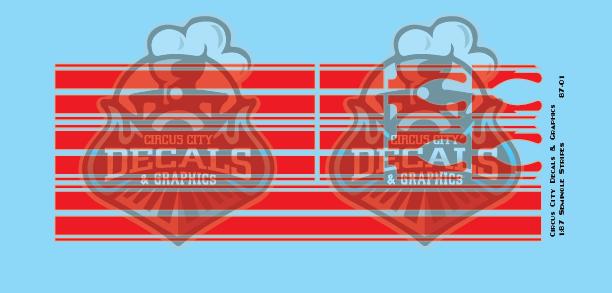 Seminole Stripe Red/Silver Outline 1:87 Scale