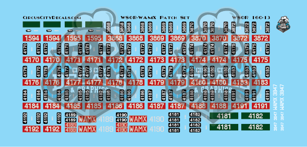 Wisconsin & Southern Railroad Watco WAMX WSOR Locomotive renumbering Patch Set N Scale