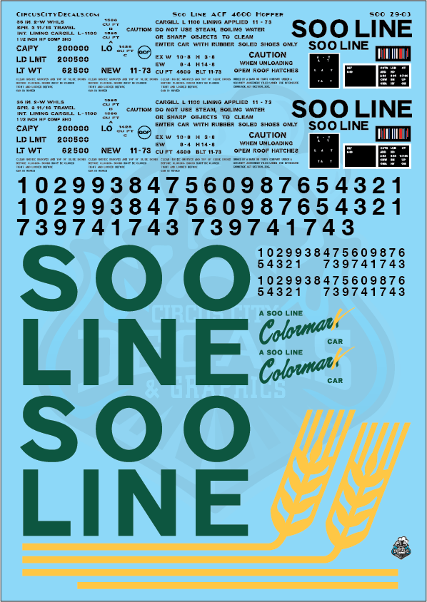 Soo Line ACF 4600 Covered Hopper Decal Set 1:29 G Scale