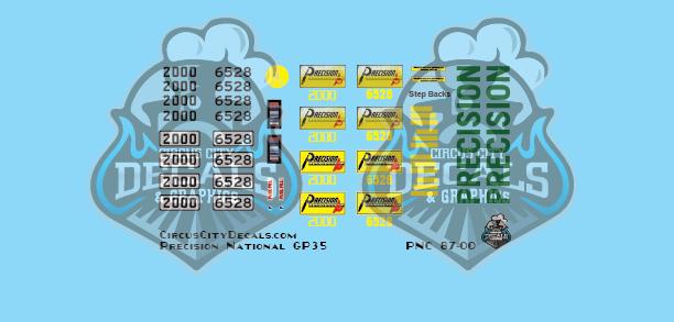 Precision National GP35 2000 6528 HO Scale Decal Set