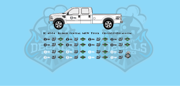Illinois Central Vehicle MOW Door Logos O Scale Decals