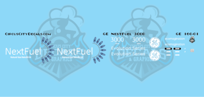 GE NextFuel LNG ES44AC 3000 N Scale Decal Set