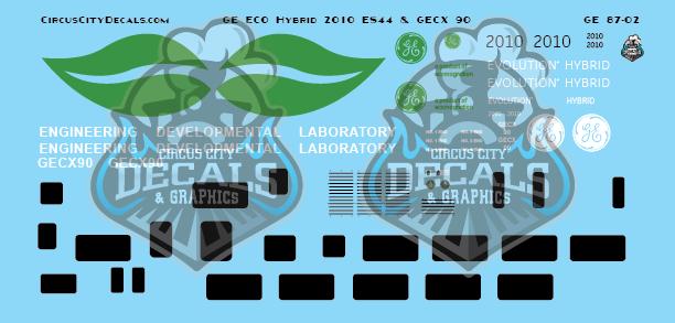 GE ECO Hybrid 2010 ES44 & GECX 90 Ho Scale Decal Set