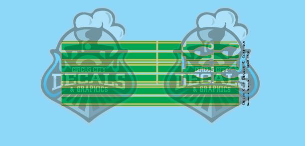 Seminole Stripe Green/Gold Outline 1:87 Scale