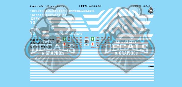 CEFX AC4400 O Scale Decal Set