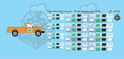Penn Central MOW Vehicle Door Logo O Scale Decal Set