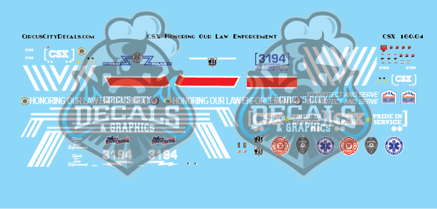 CSX ES44AH Honoring Our Law Enforcement N Scale Decal Set Walthers Intermountain ES44