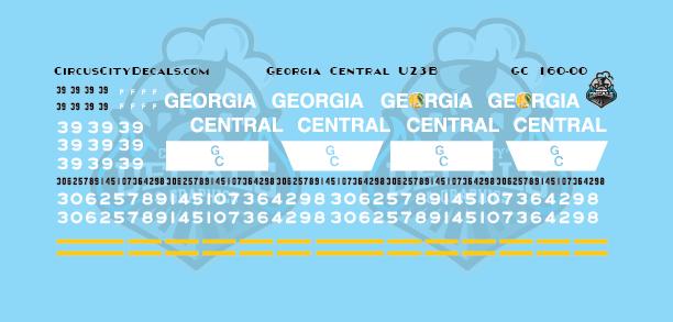 Georgia Central U23B N Scale Decal Set
