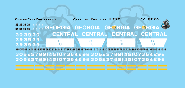 Georgia Central U23B HO Scale Decal Set