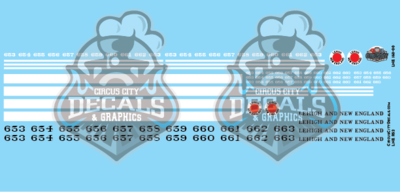 Lehigh and New England RS2 N Scale Decal Set