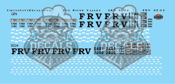 ​Fox River Valley GP9 SD24 N Scale Decal Set​