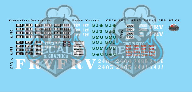 ​Fox River Valley GP30 GP35 SD35 RSD15 N Scale Decal Set​