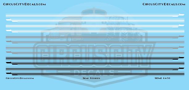 Semi Stripes Style 1 White Gray Black DCP 1:64 Scale