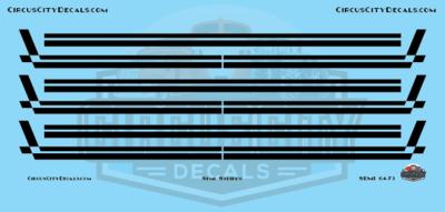 Semi Stripes Style 3 Black DCP 1:64 Scale