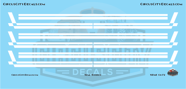 Semi Stripes Style 3 White DCP 1:64 Scale