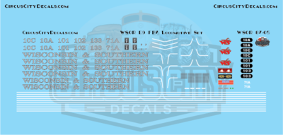 Wisconsin & Southern Railroad E9 & FP7 Decal Set WSOR