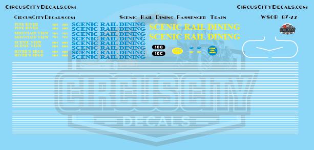 Scenic Rail Dining Passenger Train HO Scale Decal Set WSOR