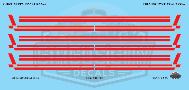 Semi Stripes Style 3 Red with White Pinstripe DCP 1:64 Scale