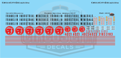 Franklin Industrial Minerals FIMX B23-7 N Scale Decal Set