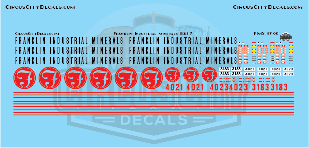 Franklin Industrial Minerals FIMX B23-7 HO Scale Decal Set