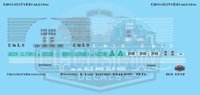 E&LS Escanaba & Lake Superior FP7A DS44-1000 RS12 Oregon California Eastern HO scale Decal Set