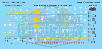 Lake Superior & Ishpeming Railroad LS&I Scale Test Ore Cars O Scale Decal Set