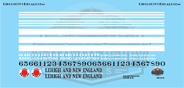 Lehigh and New England RS2 O Scale Decal Set