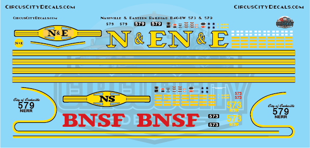 Nashville and Eastern Railroad NERR B40-8W 573 & 579 N Scale Decals
