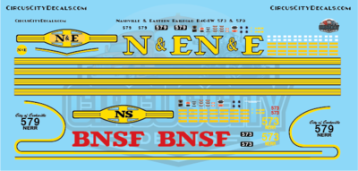 Nashville and Eastern Railroad NERR B40-8W 573 & 579 HO Scale Decals