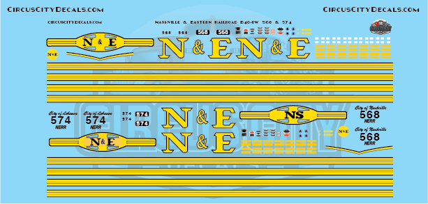 Nashville and Eastern Railroad NERR B40-8W 568 & 574 N Scale Decals​