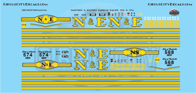 Nashville and Eastern Railroad NERR B40-8W 568 & 574 HO Scale Decals​