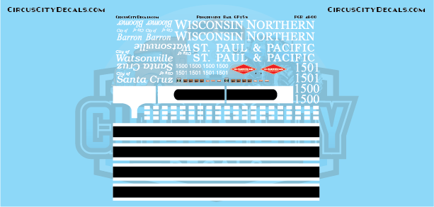 Progressive Rail Wisconsin Northern/St. Paul Pacific GP15 Decal Set O Scale