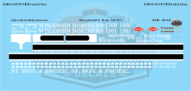 Progressive Rail Wisconsin Northern/St. Paul Pacific GP15 Decal Set HO Scale