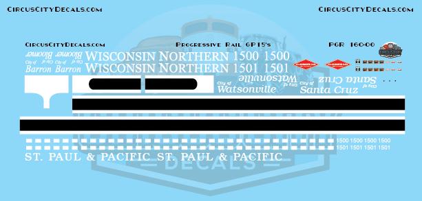 Progressive Rail Wisconsin Northern/St. Paul Pacific GP15 Decal Set N Scale