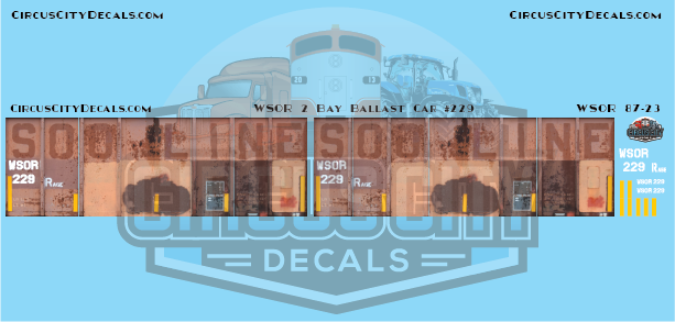 Wisconsin & Southern WSOR 2 Bay 70 Ton Ballast Hopper Full Car Decal Wrap HO Scale
