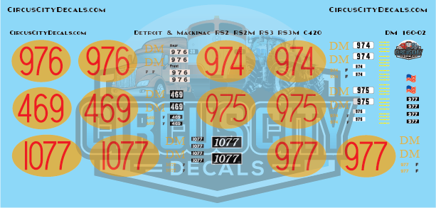 Detroit & Mackinac RS2 RS2M RS3 RS3M C420 N Scale Decals