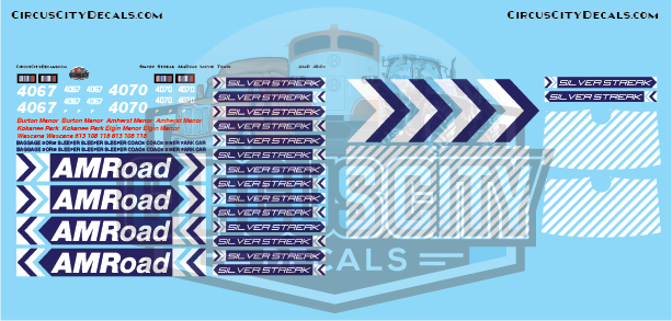 AMRoad Silver Streak Movie Train Decals Blue O Scale