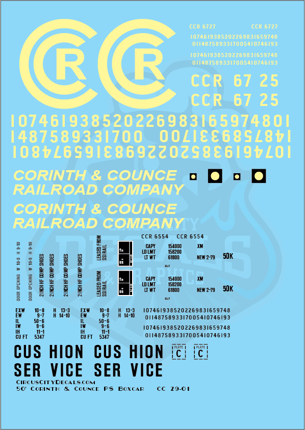 Corinth & Counce Faded 50' PS Boxcar G Scale Decal Set
