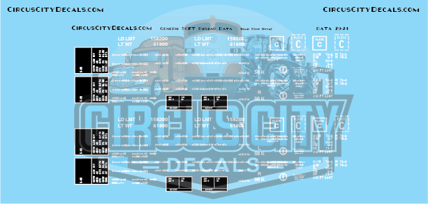 Generic Modern 50' Boxcar Data Only White Solid Font G Scale Decal Set