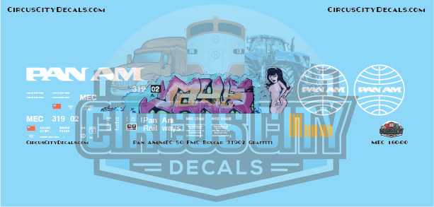 Pan Am Railways MEC 50' FMC Boxcar 31902 N Scale Decal Graffiti