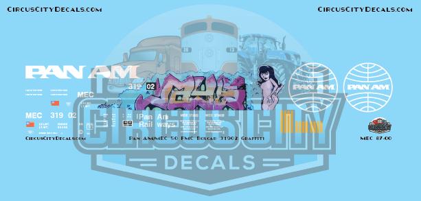 Pan Am Railways MEC 50' FMC Boxcar 31902 HO Scale Decal Graffiti