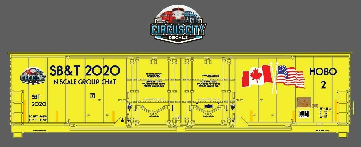 SB&T 2020 Boxcar N Scale Decal Set