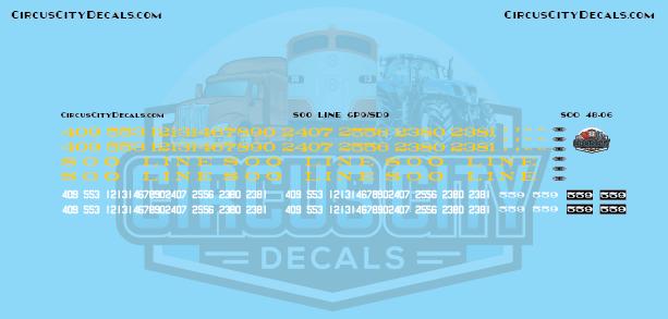 Soo Line GP9/SD9 O Scale Decal Set