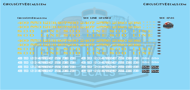 Soo Line GP9/SD9 HO Scale Decal Set